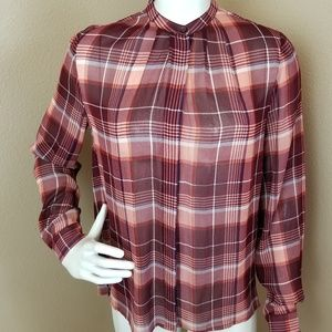 Lucky Brand Plaid Semi Sheer Button Down Top S